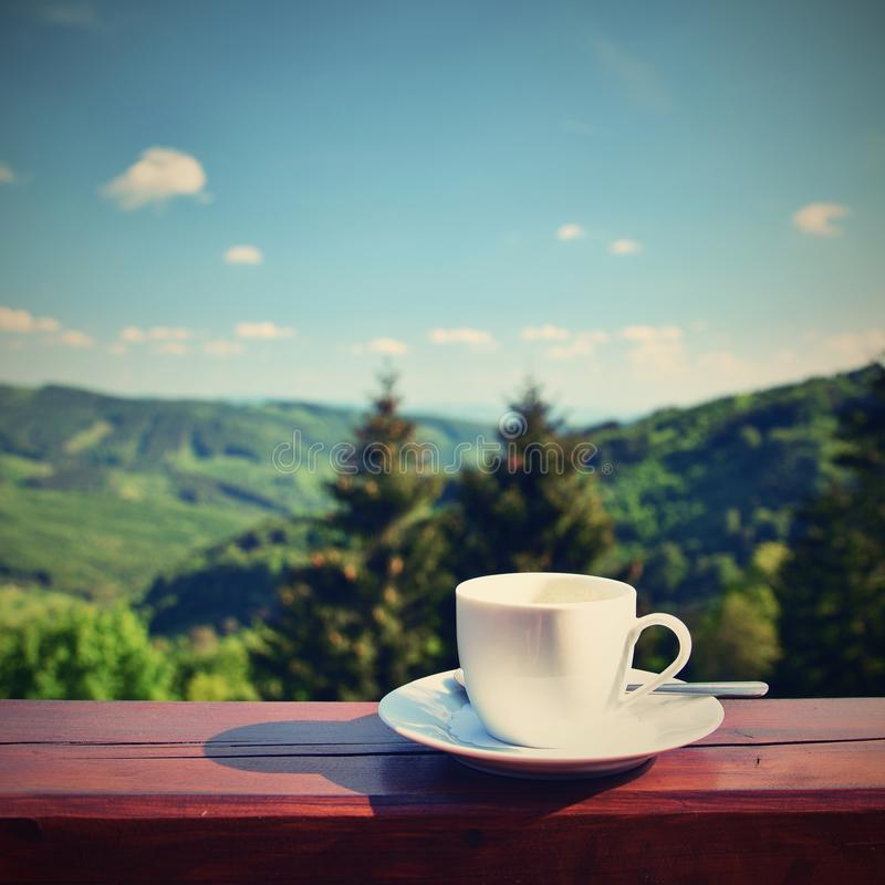 Morning Cup Of Coffee With A Beautiful Mountain Landscape Background ...