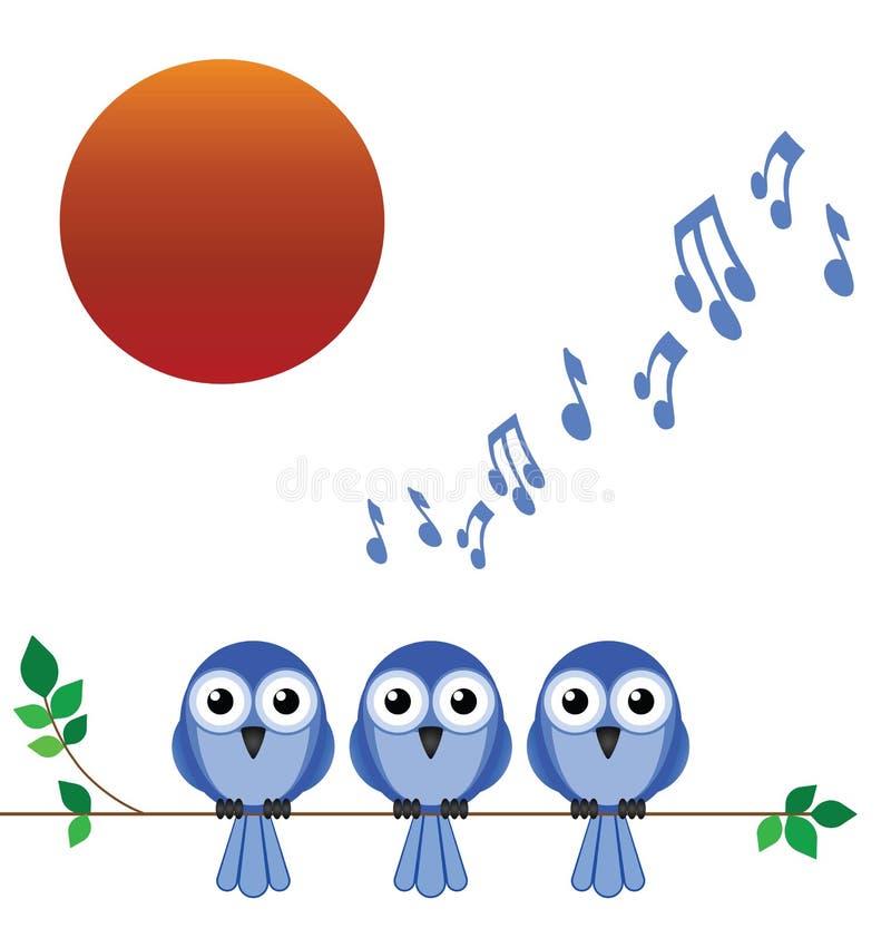 Morning dawn chorus. Of birdsong against a rising sun stock illustration