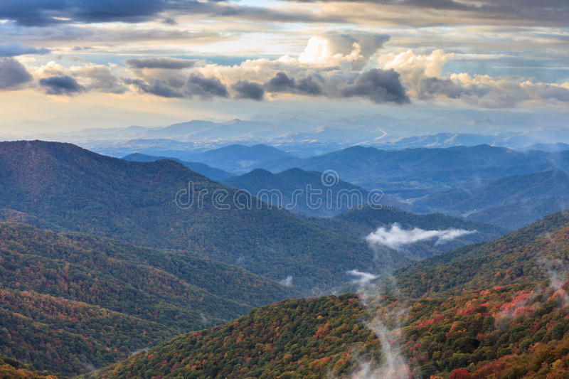 Dawn Blue Ridge Mountains North Carolina NC. Landscape of early morning sun and fog on the ridges and valleys of the Appalachian Blue Ridge Mountains at East stock photography