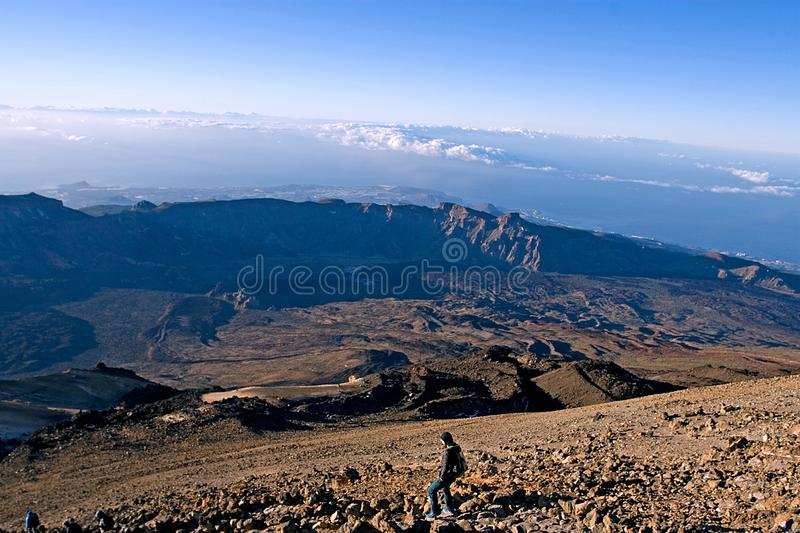 Morning descent from the Teide volcano in the Canaries, on a sunny day, natural background, natural background. Morning descent from the Teide volcano in the royalty free stock photography