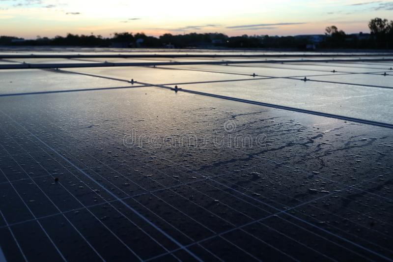 Morning Dewdrop on Solar Panel stock photos