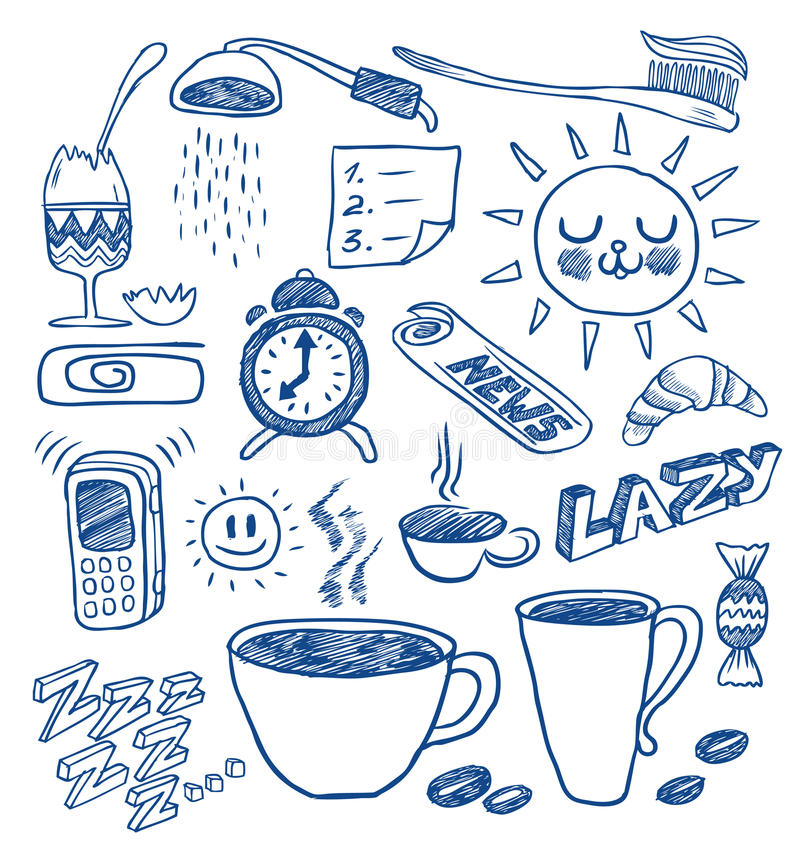 Morning doodles. A hand drawn morning doodles collection