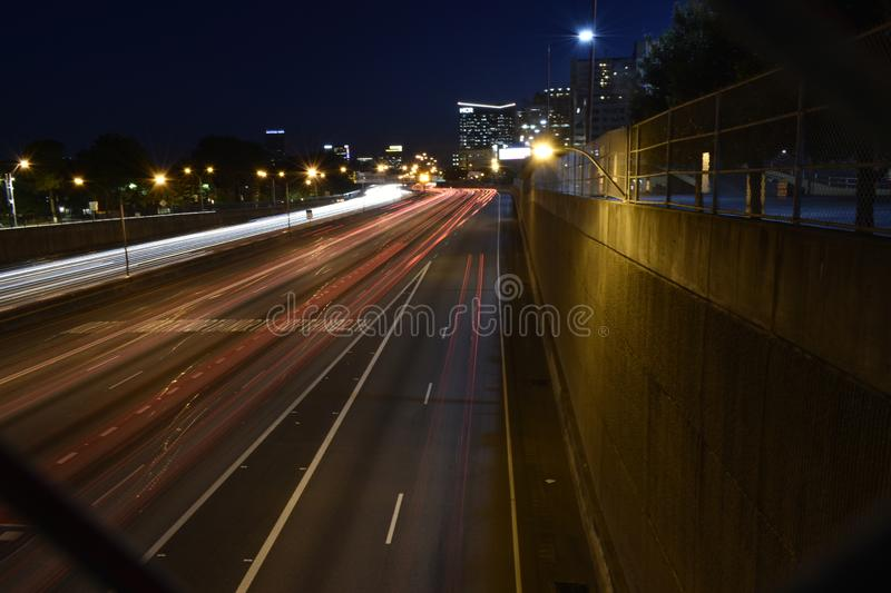 Morning on 400. Early morning rush-hour on GA 400 at the North Ave. bridge royalty free stock images