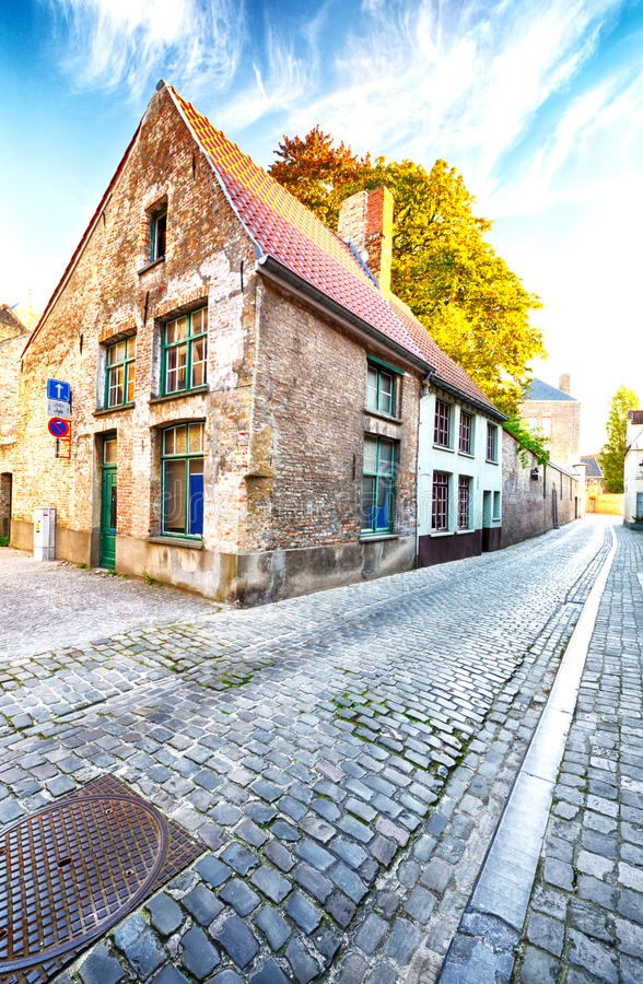 Morning on an empty street in Europe stock photos