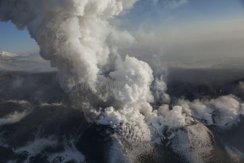 Morning eruption on the volcano. Kamchatka cold morning on the volcano. bright dawn colors stock photos