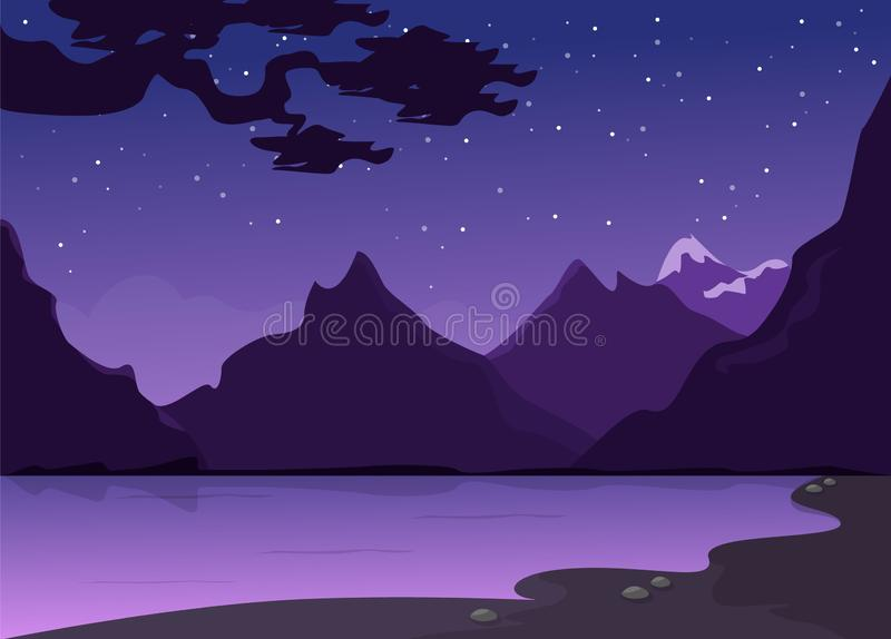 Morning or evening landscape with river and mountain stock illustration