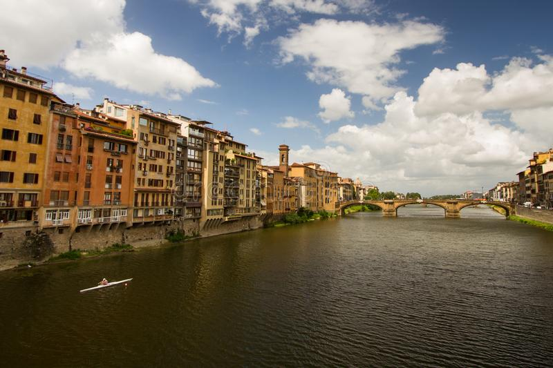 Morning Exercise on the Arno stock images