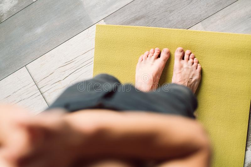 Morning exercise healthy habits sport fitness feet royalty free stock image