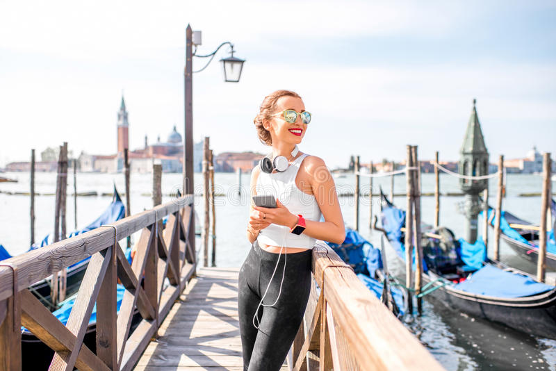 Morning exercise in Venice stock photography