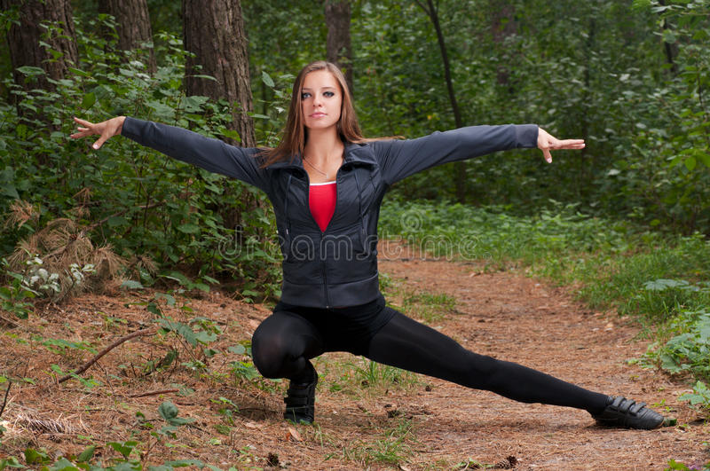 Morning Exercises In Park Stock Photo