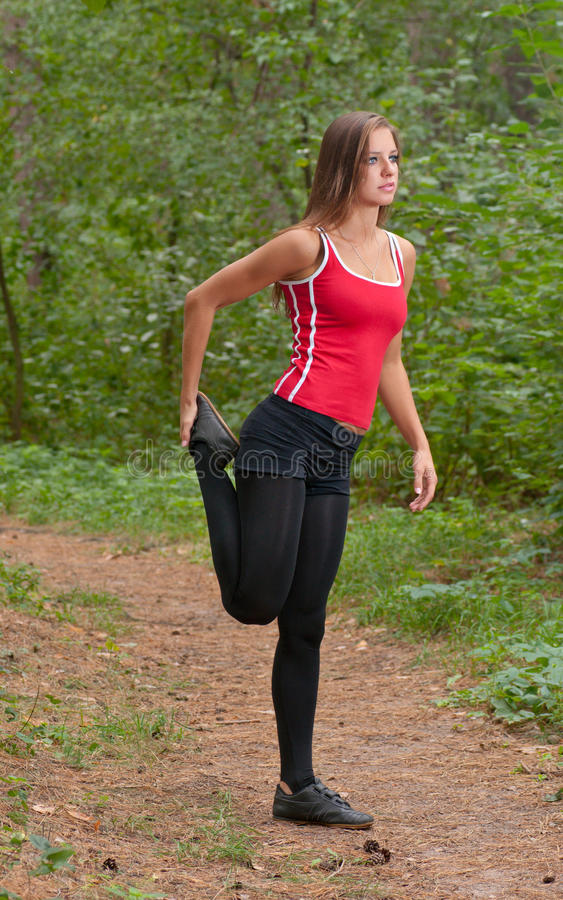 Morning exercises in park royalty free stock image
