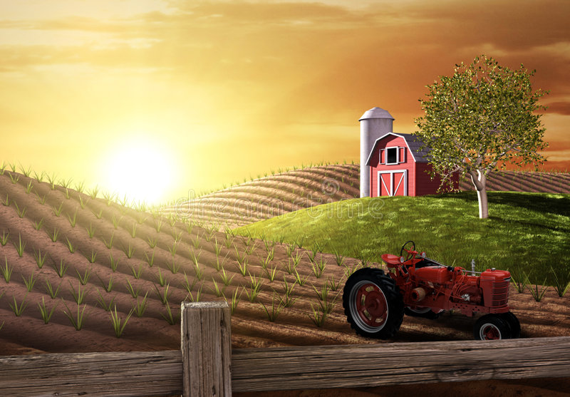 Morning on the Farm. Red barn and tractor on a farm with the sun rising over the horizon royalty free illustration
