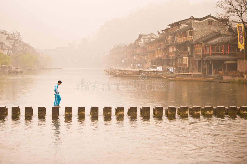 Morning in Feng Huang old town royalty free stock photos