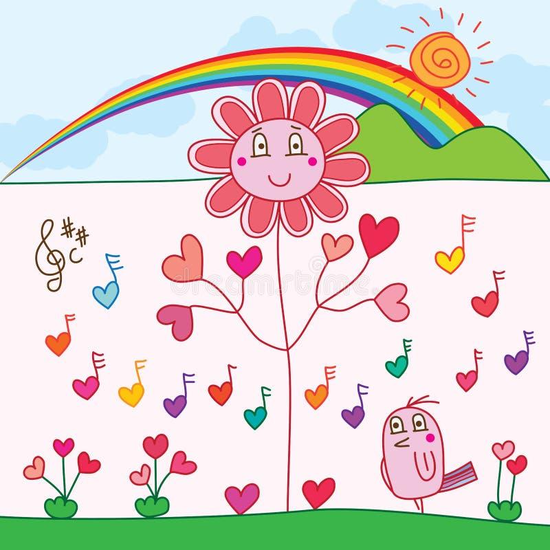 Morning flower bird music card royalty free illustration