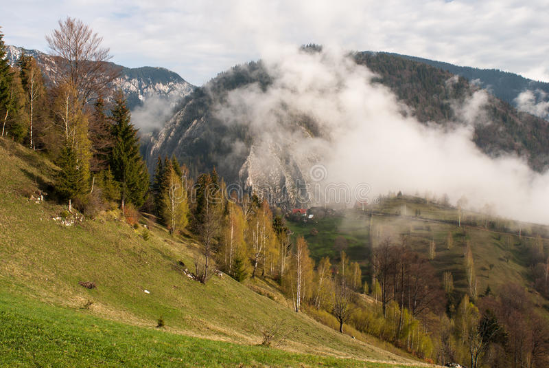 Morning fog Romania mountains stock photography
