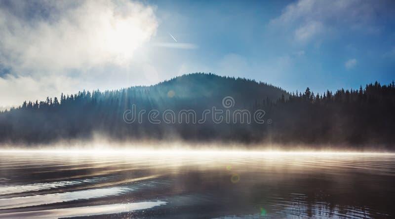 Morning fog on the lake stock photos