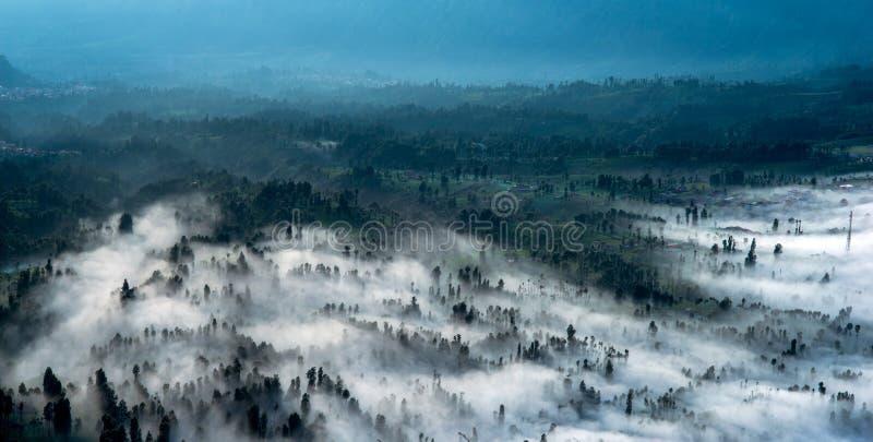 Morning fog landscape panorama royalty free stock images