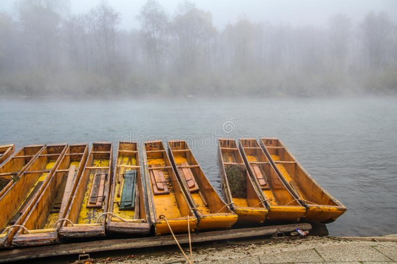 Morning fog and mist over Dunajec river stock photography