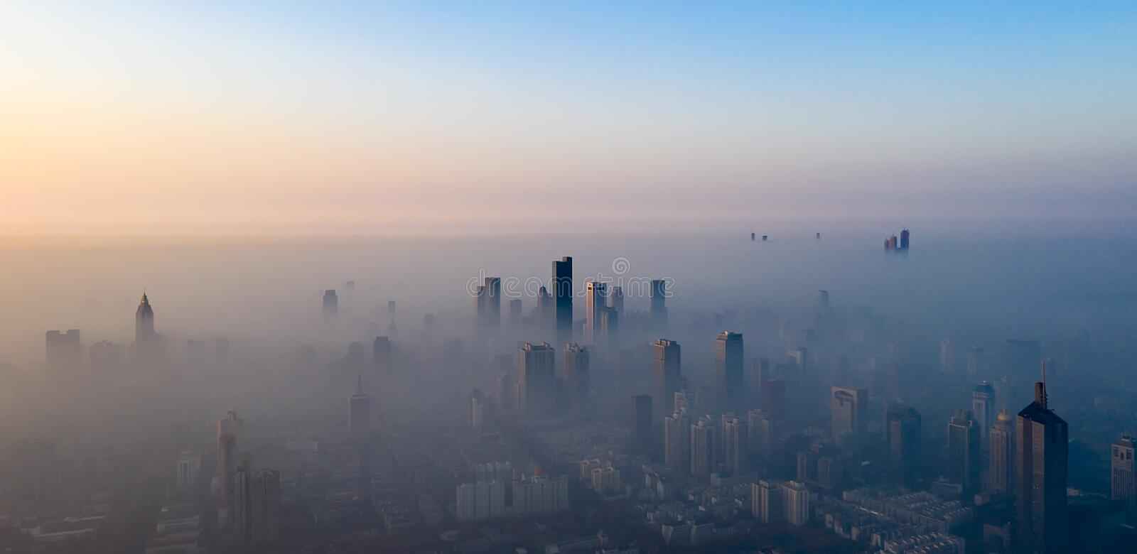The morning fog in Nanjing. Nanjing is the capital of Jiangsu Province, China, and currently has a population of 8.5 million. In recent years, the economy has royalty free stock image