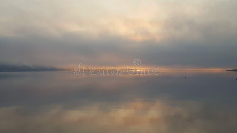 Morning fog in novalja royalty free stock image