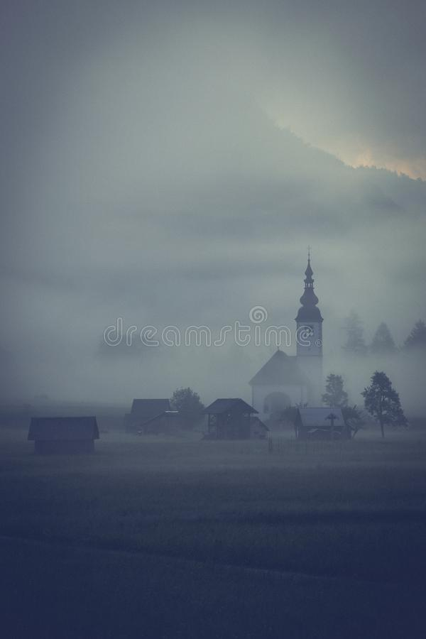 morning fog in river valley Sava Bohinjka, Slovenia stock photo