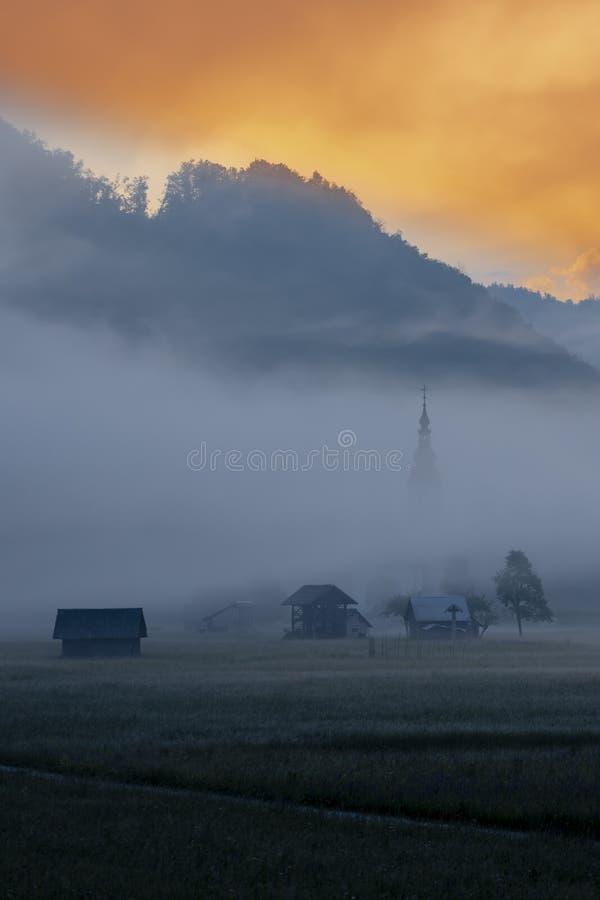 morning fog in river valley Sava Bohinjka, Slovenia royalty free stock photo