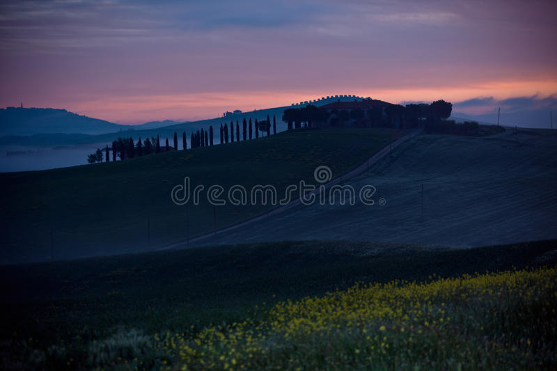 Download Morning Fog View On Farmhouse In Tuscany, Italy Stock Photo - Image: 36697110