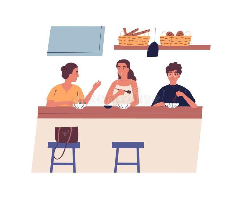 Morning friendly meeting at cafe. Group of young happy friends eating breakfast or lunch together and talking. Cute vector illustration