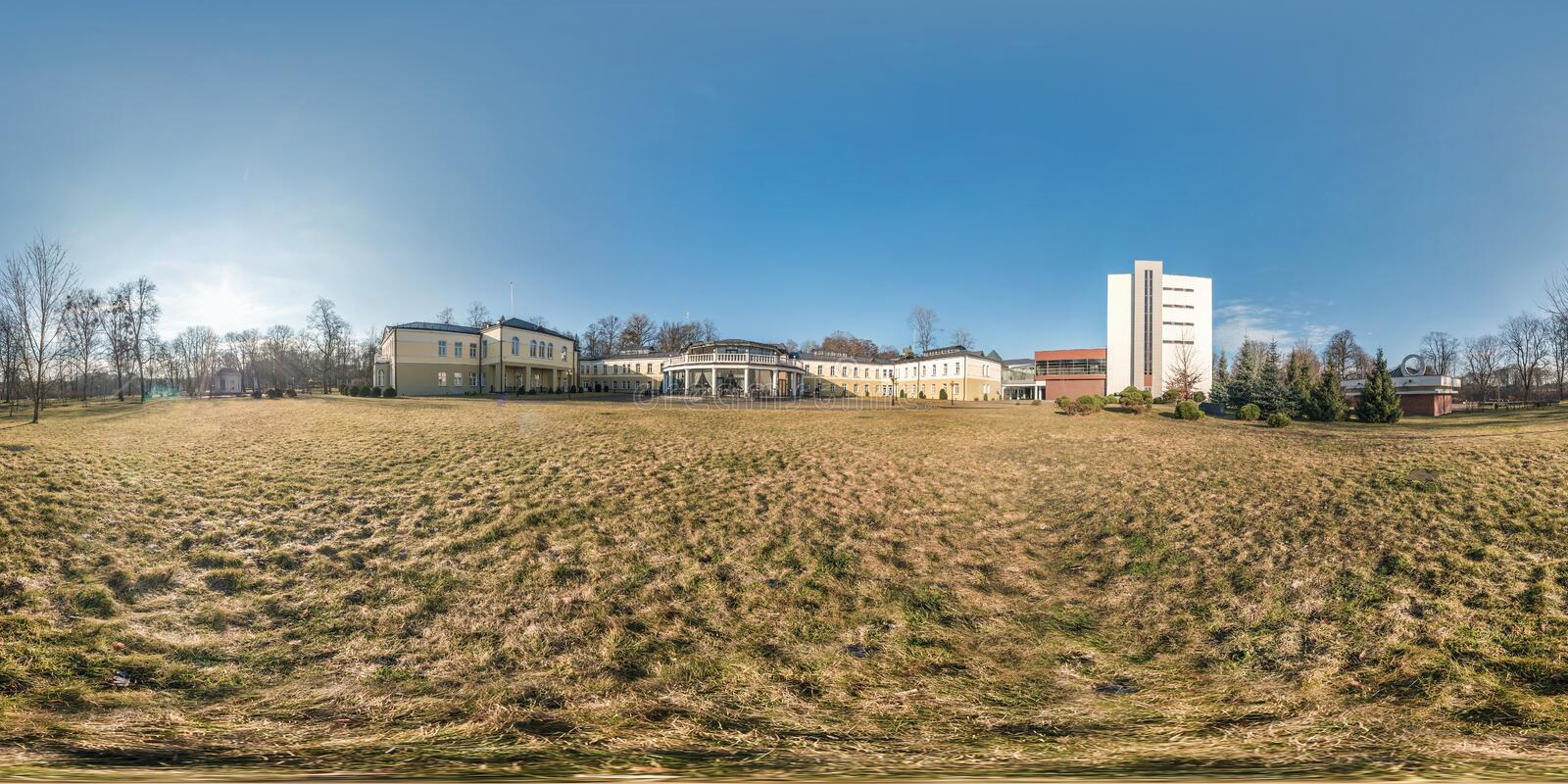 Morning full seamless spherical panorama 360 degrees angle view in park of provincial town in sunny day in equirectangular stock photos
