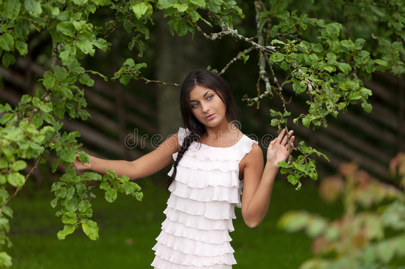 Morning in the garden. Young girl walking in the summer garden royalty free stock photo