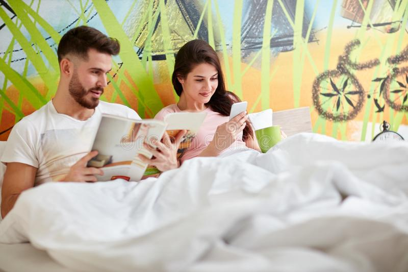 Morning with girlfriend in bad stock photo