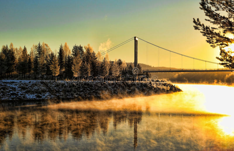 Morning glow. Over the river stock photos