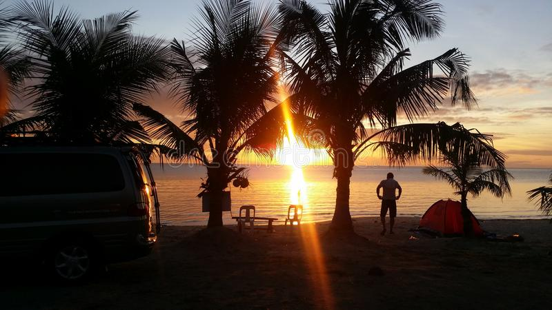 Morning glow. Sunrise in paradise with a warm morning glow stock photos