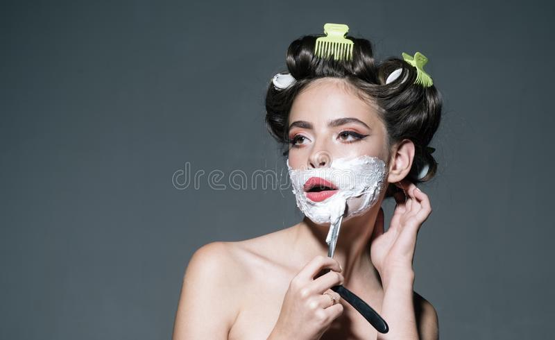 Morning grooming and skincare. girl with fashion hair. retro woman shaving with foam and razor blade. pin up woman with. Trendy makeup. pretty girl in vintage royalty free stock photography