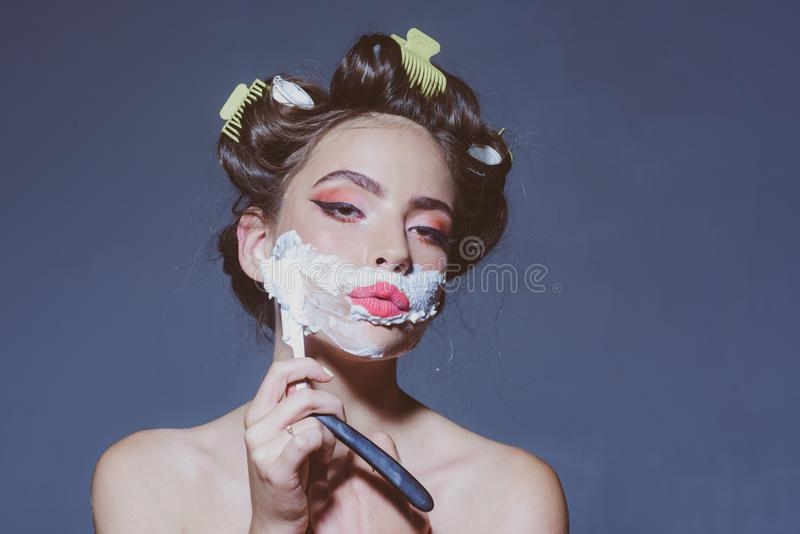 Morning grooming and skincare. pin up woman with trendy makeup. retro woman shaving with foam and razor blade. pretty. Girl in vintage style. pinup girl with stock images