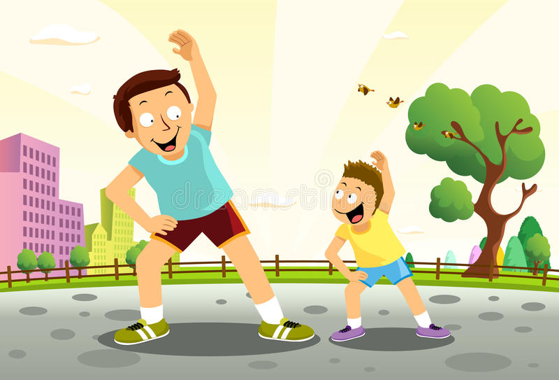 Morning Gymnastic. A boy and his dad having a morning gymnastic in the park royalty free illustration