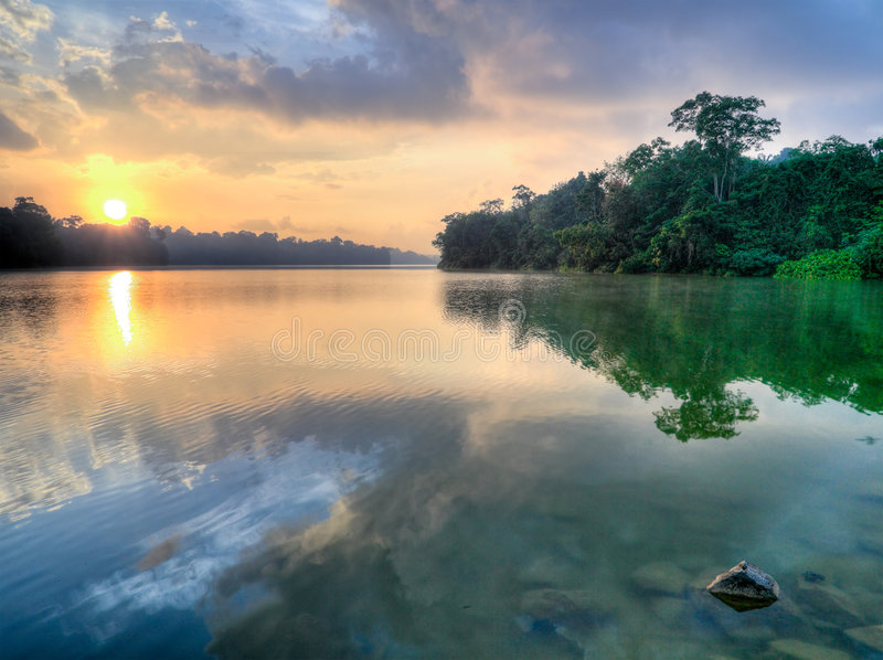Morning Has Broken. Sun crossing crest of hills in the morning in a tropical forest reserves stock photo