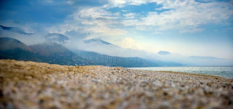 Morning haze over the beach in Albania royalty free stock photo