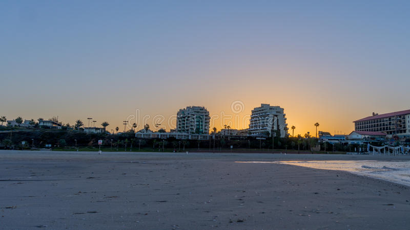 Morning in Herzliya. MorningView of Herzliya`s SeeView at 6am royalty free stock image
