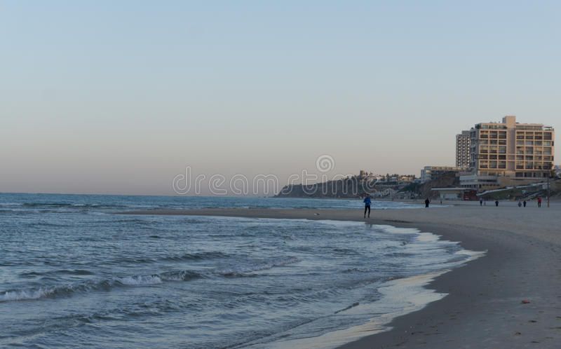Morning in Herzliya. MorningView of Herzliya`s SeeView at 6am. People started make a sport stock photo