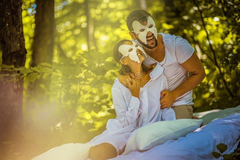 Morning hidden face. Young couple. royalty free stock photos