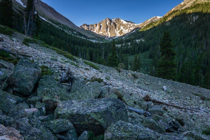 Morning Hike on La Plata Peak - Colorado. La Plata Peak is one of Colorado& x27;s Fourteeners, near Independence Pass stock image