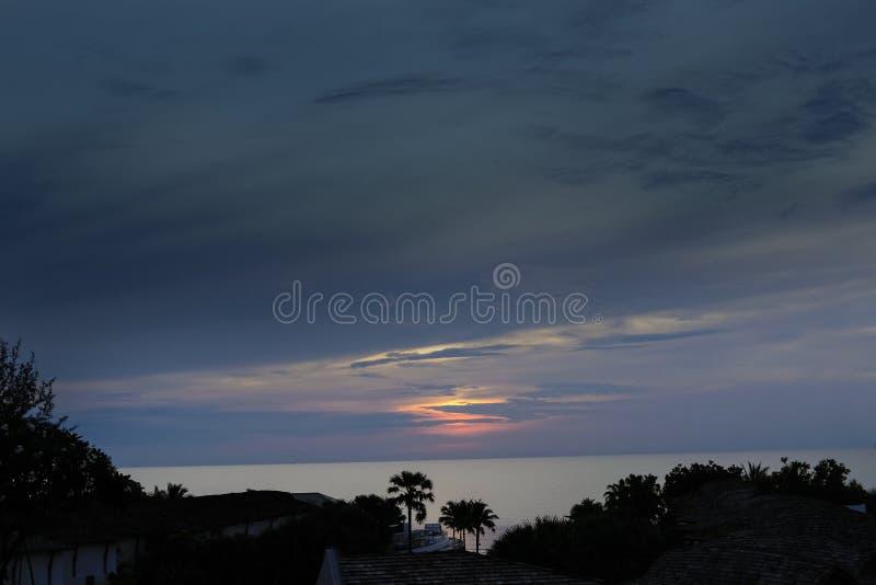 Morning at Hue Hin Beach. Prachuap Khiri Khan, Thailand royalty free stock photo