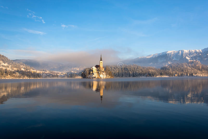 Morning idylle at lake Bled stock photography