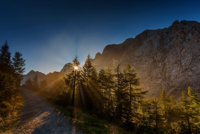 Morning in Julian Alps stock images