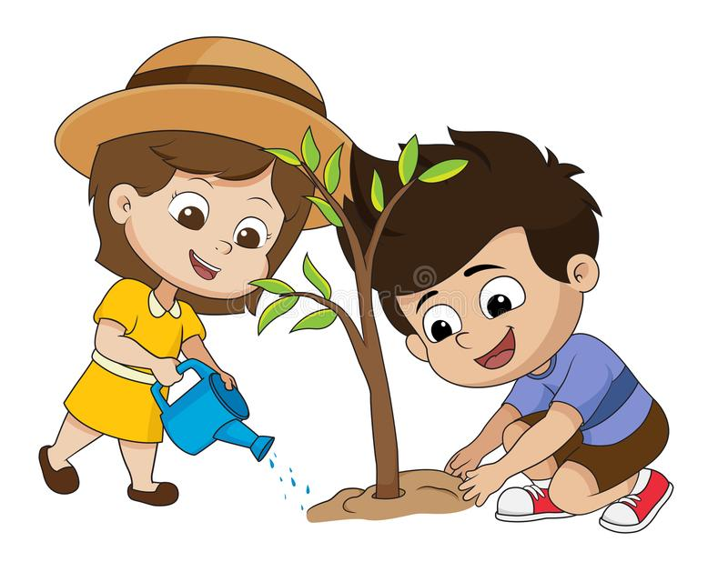 In the morning,kid planting a tree. vector illustration