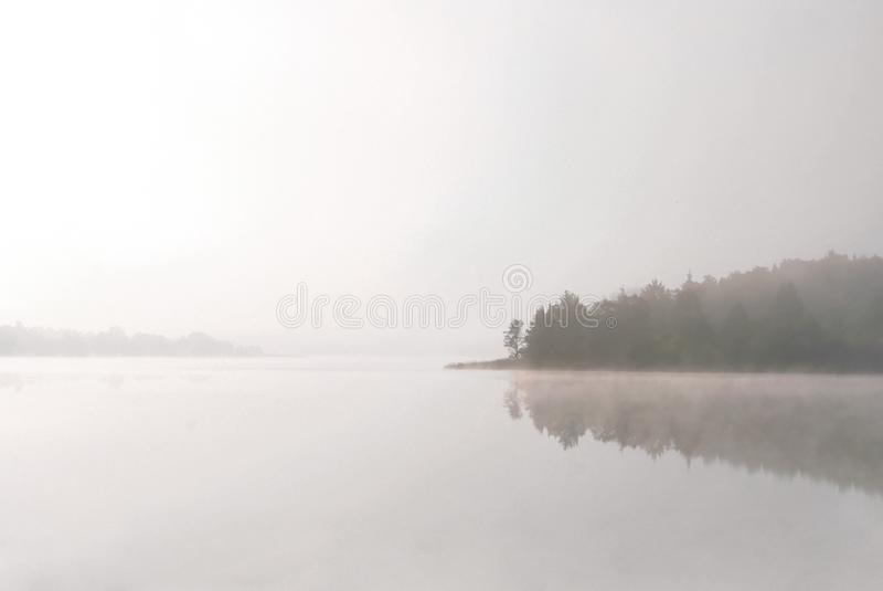 Morning lake in a fog stock photography