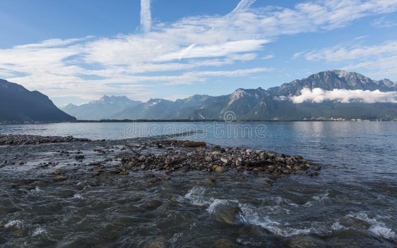 Morning on the Lake Geneva. Lake Geneva by morning, Montreux, Switzerland royalty free stock photo