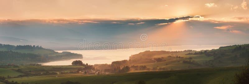 Morning on the lake. Liptov, Slovakia stock image