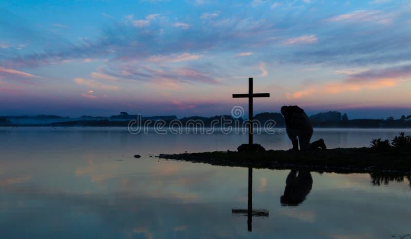 Download Morning Lake Pray stock image. Image of water, easter - 32853649